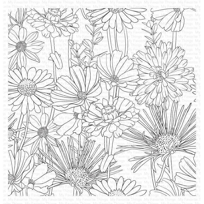 Flower Field Background, My Favorite Things Cling Stamps - 849923035665