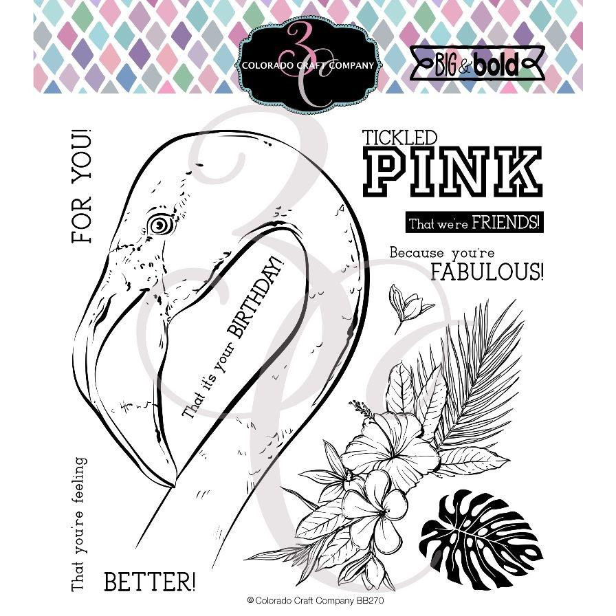 Tickled Pink Flamingo, Colorado Craft Company Clear Stamps -