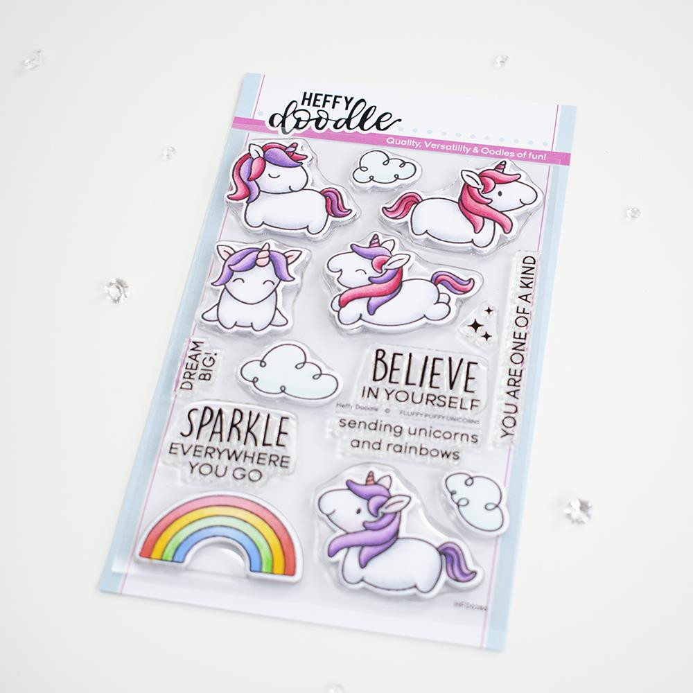 Fluffy Puffy Unicorns, Heffy Doodle Clear Stamps - 5060540222817
