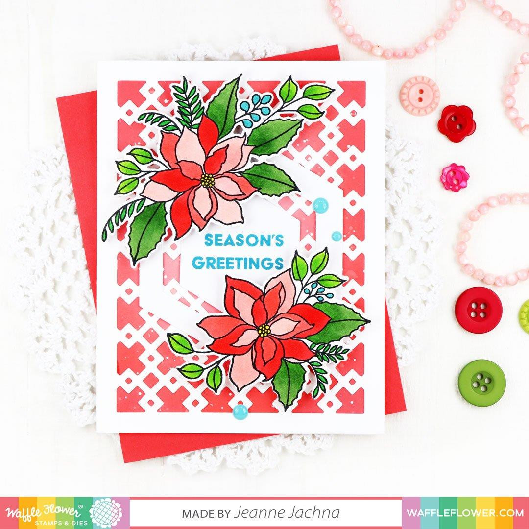 Poinsettia, Waffle Flower Clear Stamps - 780348639123
