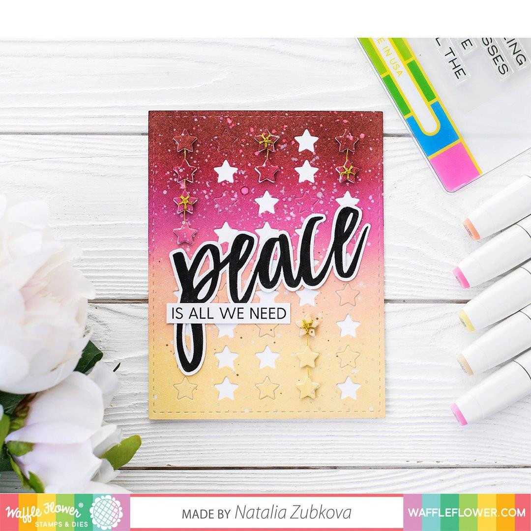 Oversized Peace, Waffle Flower Clear Stamps - 780348639185