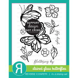 Stained Glass Butterflies, Reverse Confetti Clear Stamps -