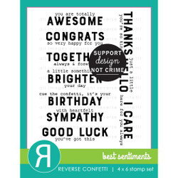 Best Sentiments, Reverse Confetti Clear Stamps -