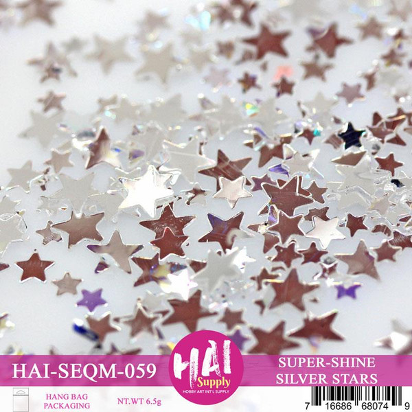 Super Shine Silver Stars, HAI Sequins - 716686680749