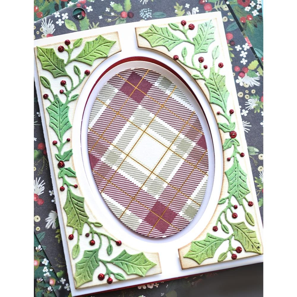 Bright Holly Tall Curve Border, Poppystamps Dies -