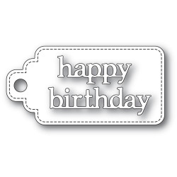 Happy Birthday Stitched Tag, Poppystamps Dies -
