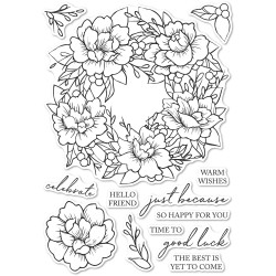 Peony Garden Wreath, Memory Box Clear Stamps -