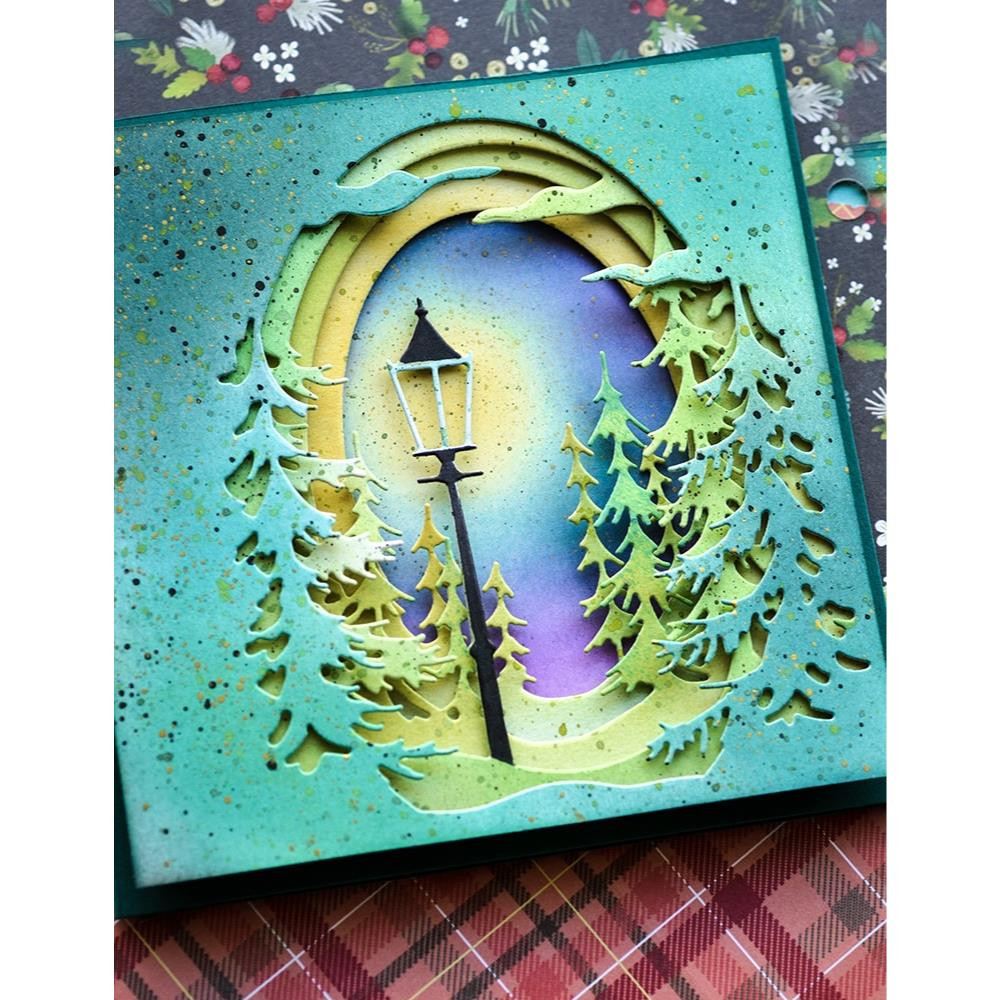 Small Pine Tree Collage, Memory Box Dies -