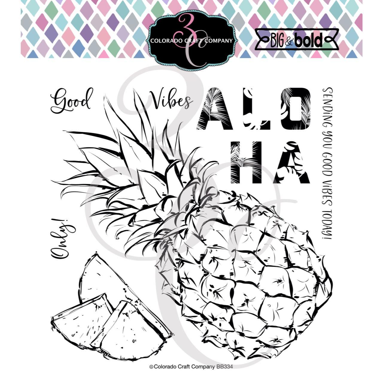 Aloha Pineapple, Colorado Craft Company Clear Stamps -