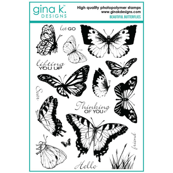 Beautiful Butterflies, Gina K Designs Clear Stamps - 609015526699