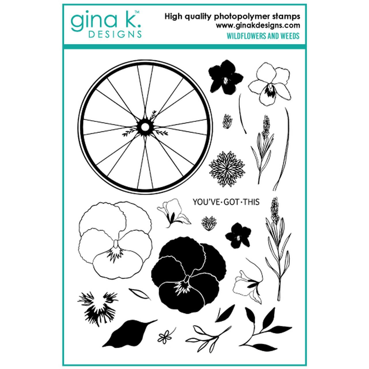 Wildflowers and Weeds, Gina K Designs Clear Stamps - 609015526736