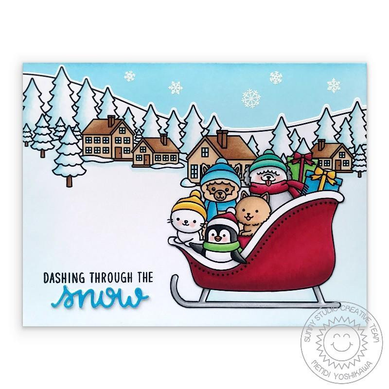 Sledding Critters, Sunny Studio Clear Stamps -