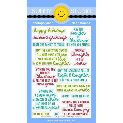 Inside Greetings Holiday, Sunny Studio Clear Stamps -