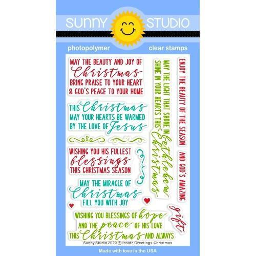 Inside Greetings Christmas, Sunny Studio Clear Stamps -