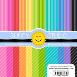 Sleek Stripes, Sunny Studio 6 X 6 Paper Pad -