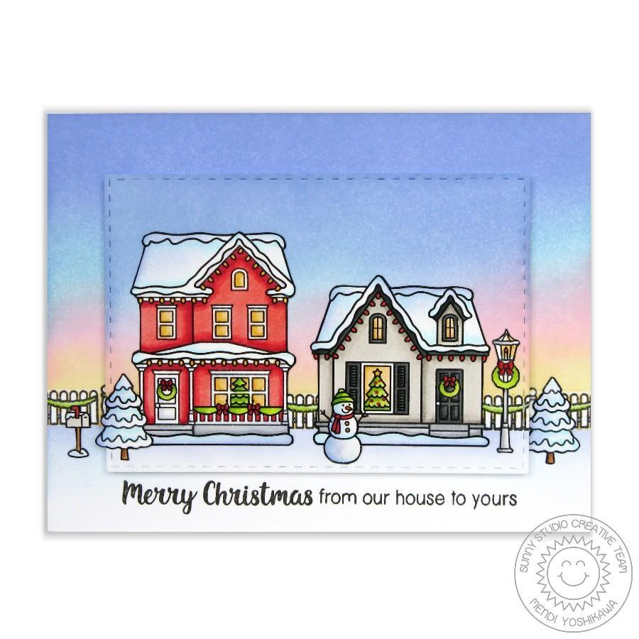 Christmas Home, Sunny Studio Clear Stamps -