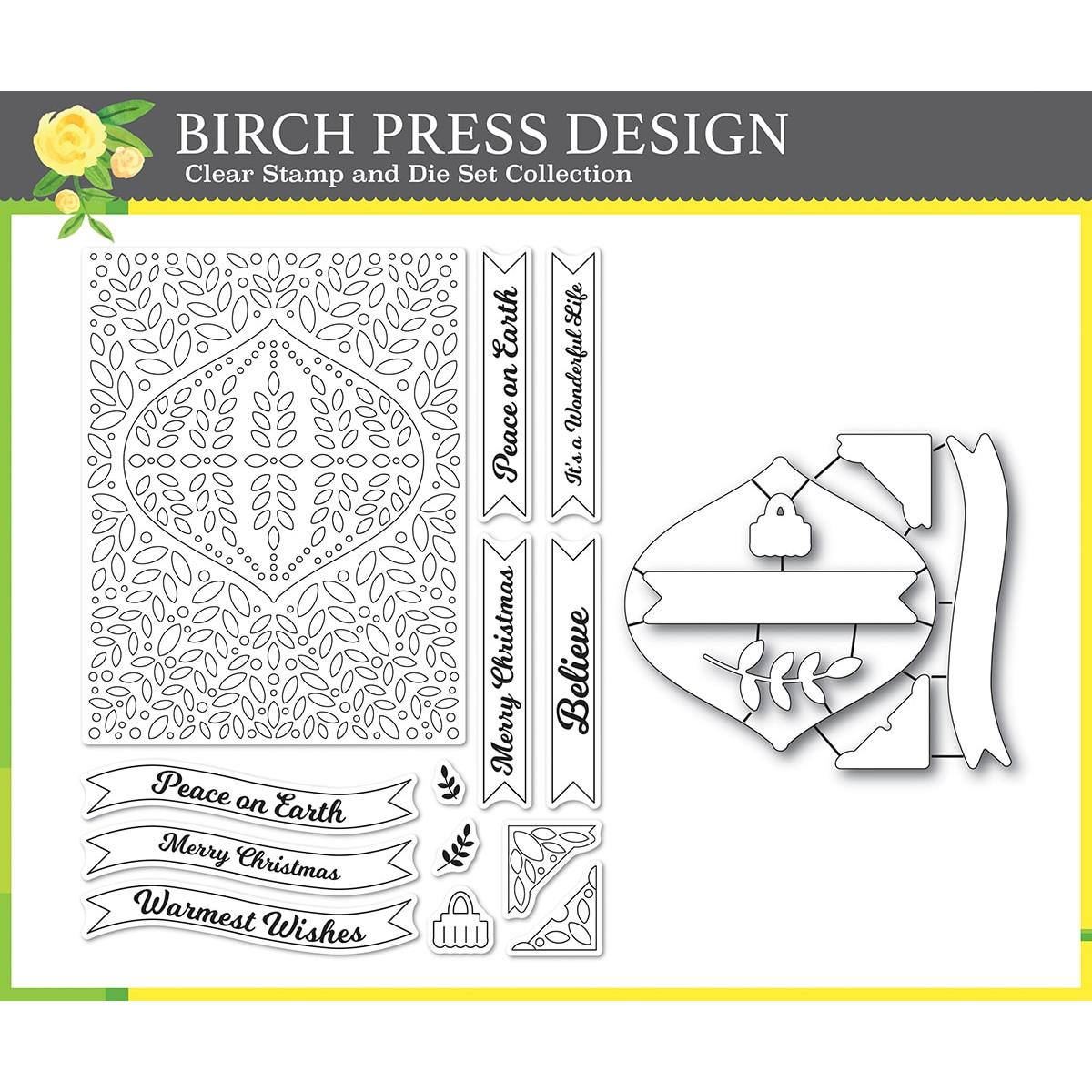 Christmas Ornament and Labels, Birch Press Design Stamp & Die Set -
