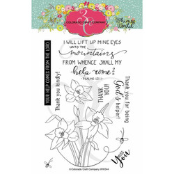Lift My Eyes Daffodils, Colorado Craft Company Clear Stamps -