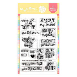 Safe at Home Sentiments, Waffle Flower Clear Stamps -
