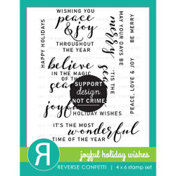 Joyful Holiday Wishes, Reverse Confetti Clear Stamps -