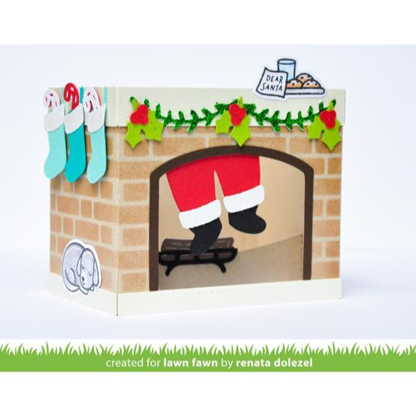 Shadow Box Card Fireplace Add-On, Lawn Cuts Dies - 035292676534
