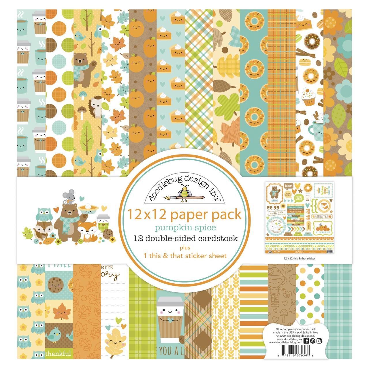 Pumpkin Spice, Doodlebug 12 X 12 Paper Pack - 842715070363