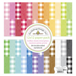 Buffalo Check-Wood Grain Rainbow, Doodlebug 12 X 12 Paper Pack - 842715070868