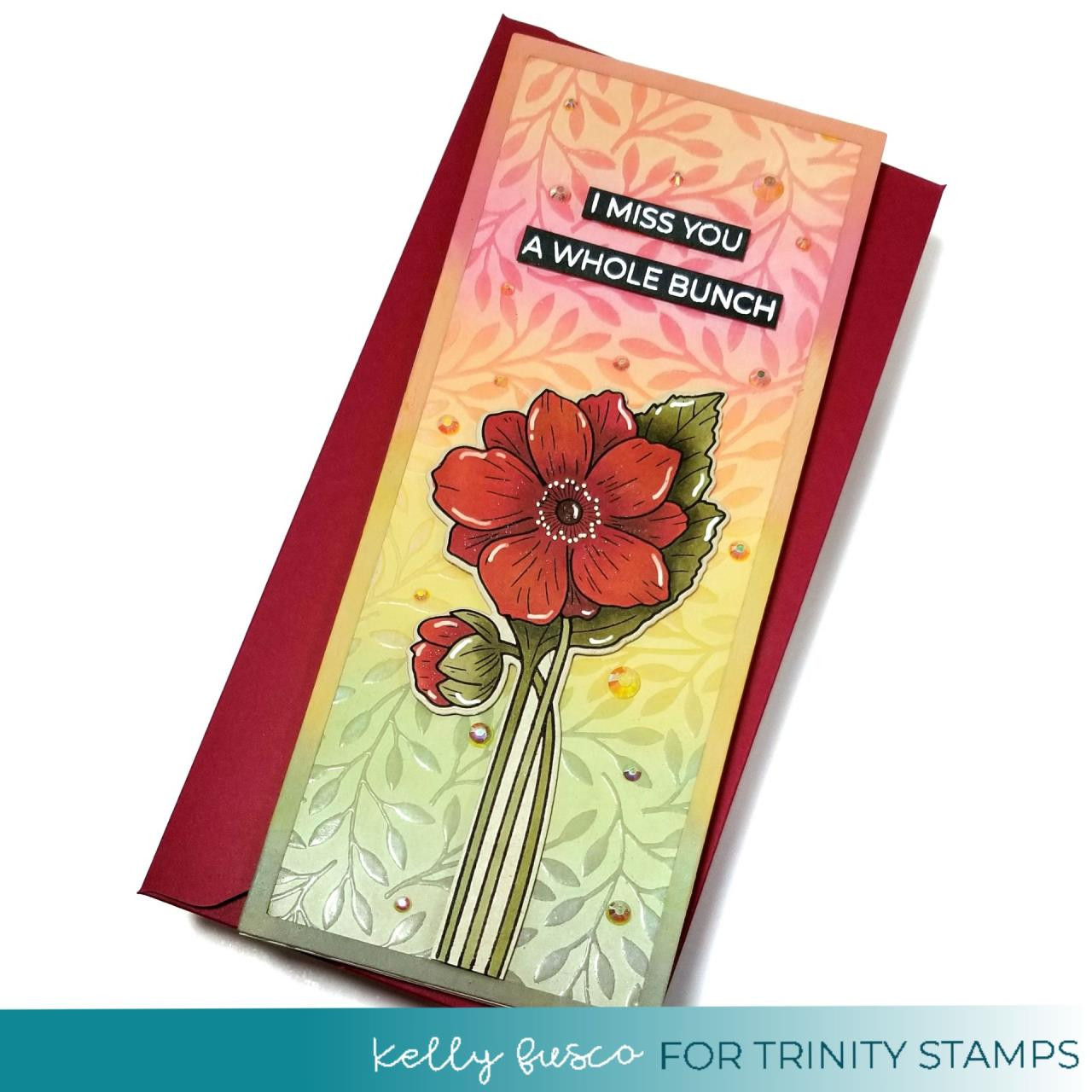Slimline Leafy Background, Trinity Stamps Clear Stamps -