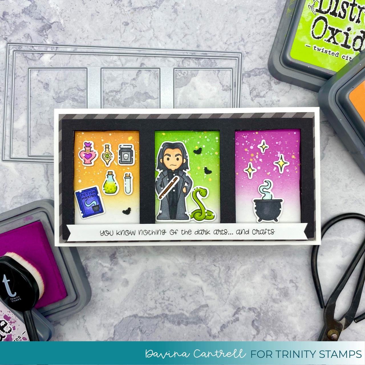 Slimline Series: Modern Embossed Frames, Trinity Stamps Dies -