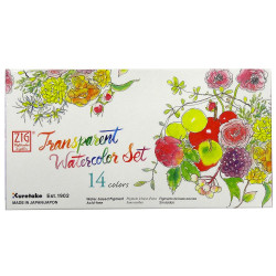 14 Color Set, Portable Transparent Watercolor, Gansai Tambi - 847340038931