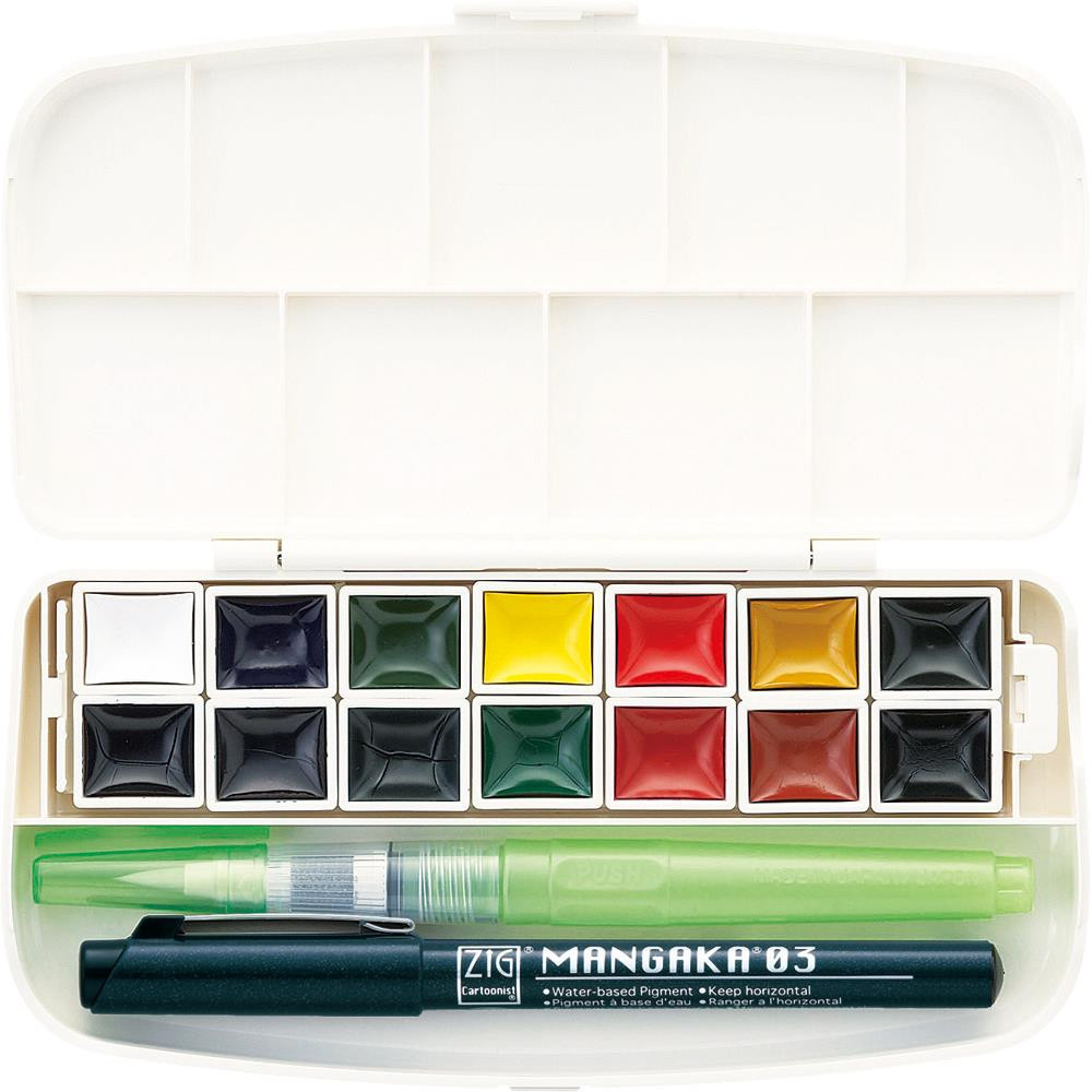 14 Color Set, Portable Transparent Watercolor, Gansai Tambi - 847340038931