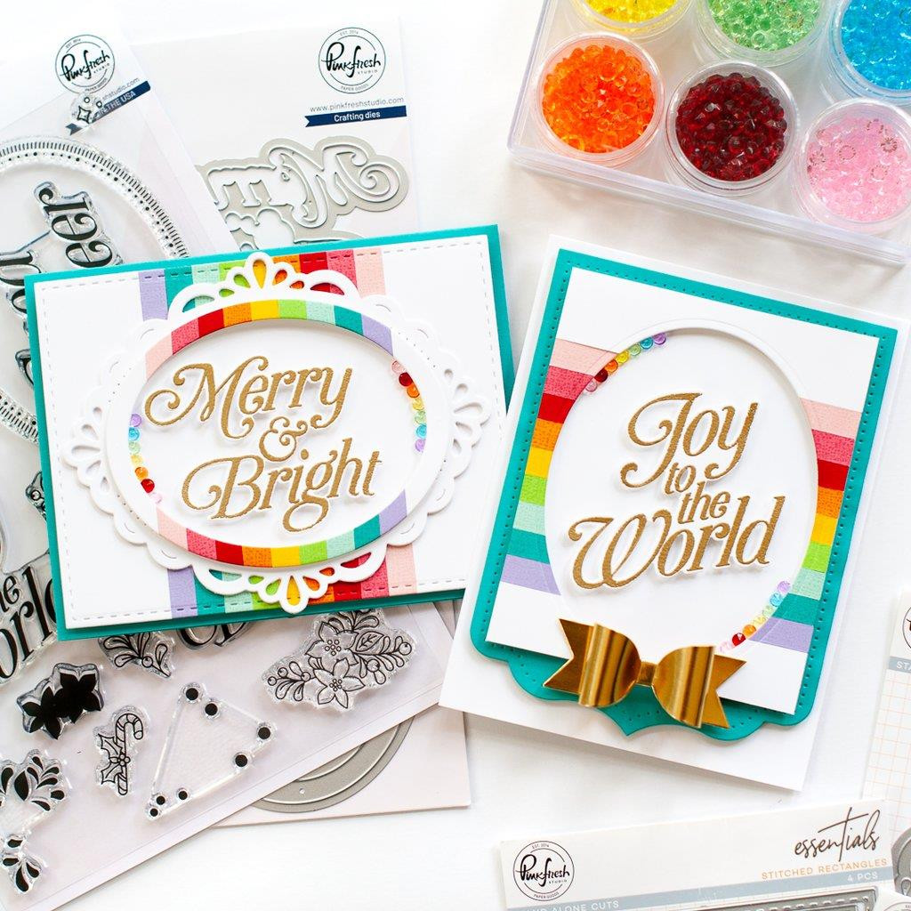 Merry and Bright Frame, Pinkfresh Studio Clear Stamps - 736952868336