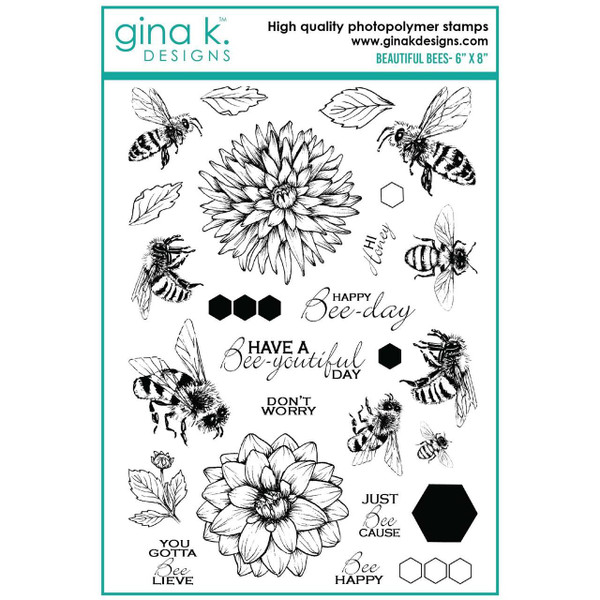 Beautiful Bees, Gina K Designs Clear Stamps - 609015526903