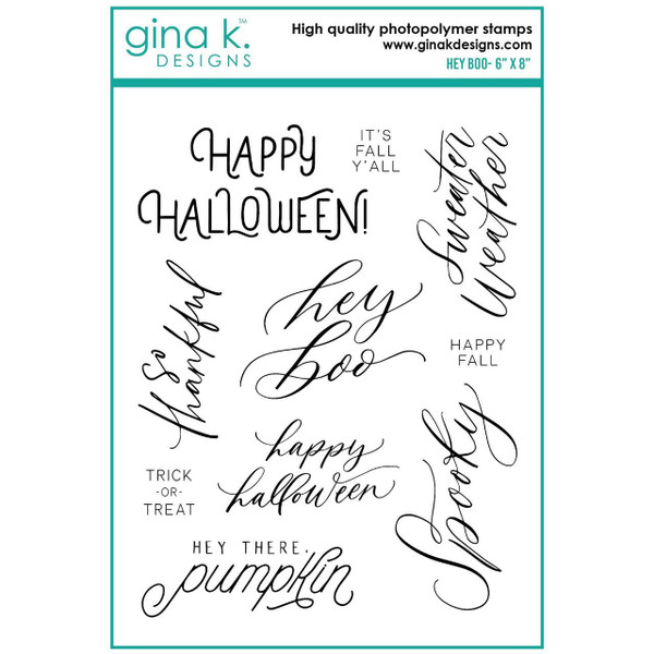 Hey Boo, Gina K Designs Clear Stamps - 609015526941