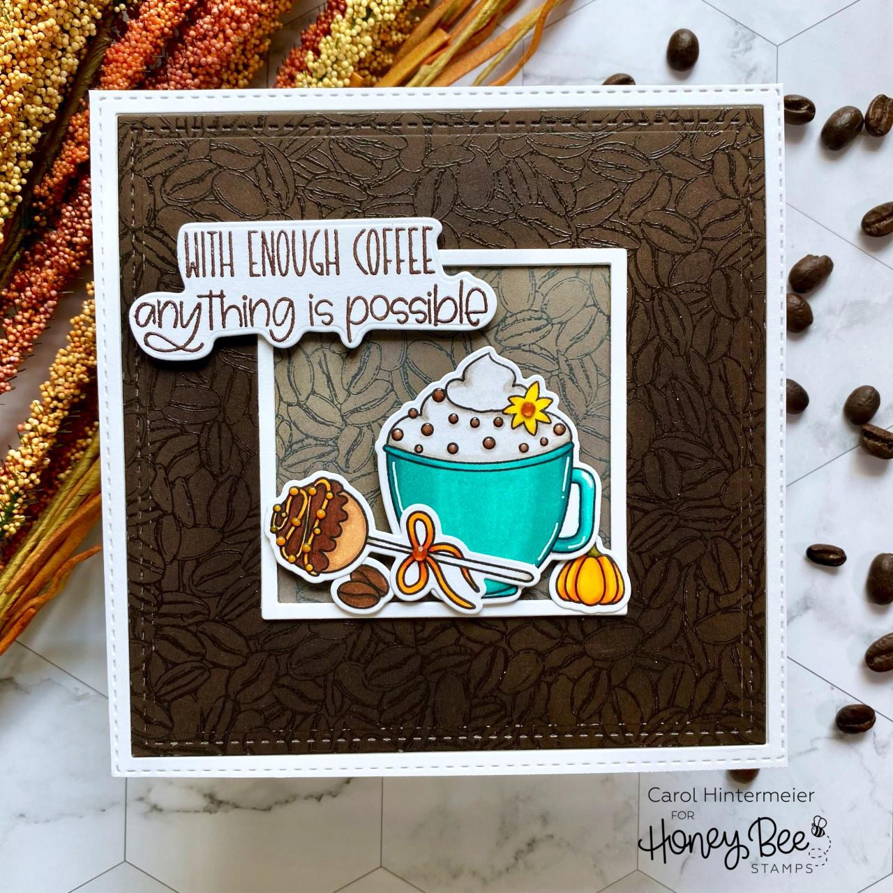 Coffee Beans Background, Honey Bee Clear Stamps - 652827602723