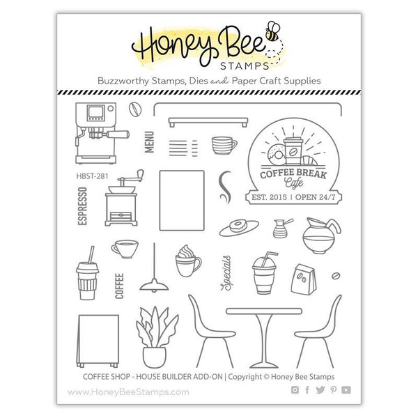 Coffee Shop House Builder Add-On, Honey Bee Clear Stamps - 652827602761