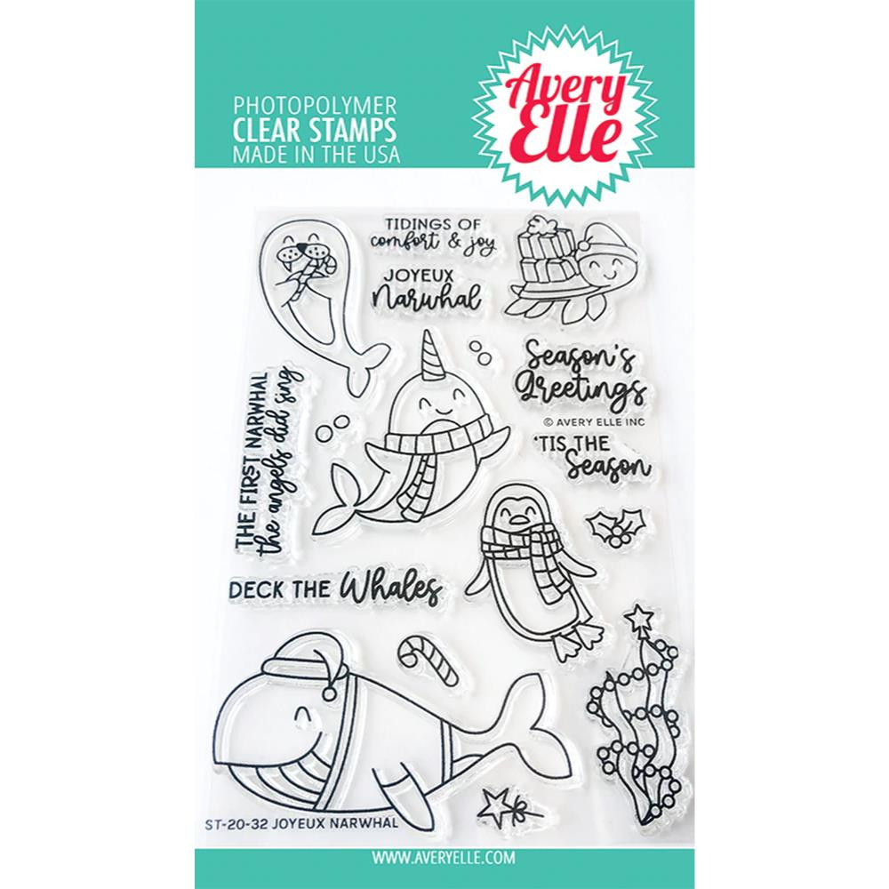 Joyeux Narwhal, Avery Elle Clear Stamps - 811568028982