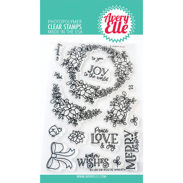 Rustic Wreath, Avery Elle Clear Stamps - 811568028913