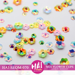 Mixed Iridescent Flower Cup, HAI Sequins -