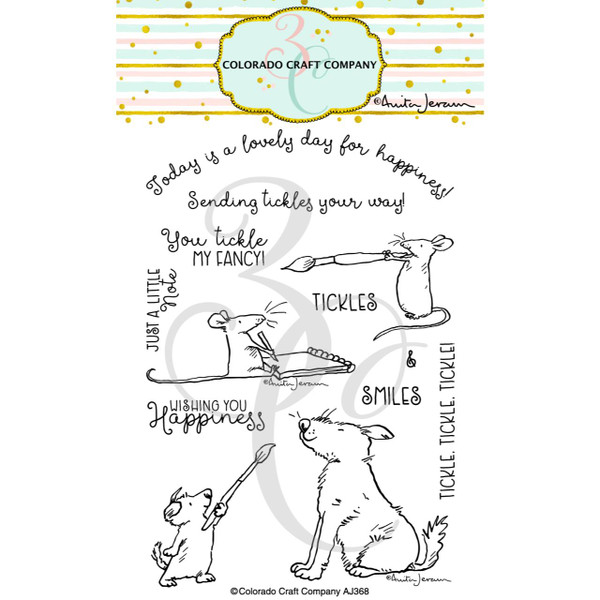Wishing You Happiness by Anita Jeram, Colorado Craft Company Clear Stamps -