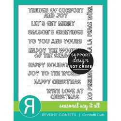 Seasonal Say It All, Reverse Confetti Clear Stamps -