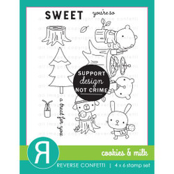 Cookies & Milk, Reverse Confetti Clear Stamps -