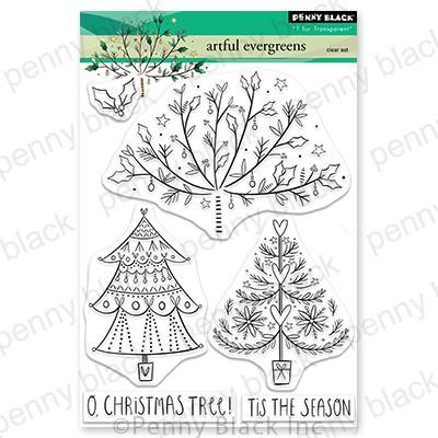 Artful Evergreens, Penny Black Clear Stamps - 759668307333
