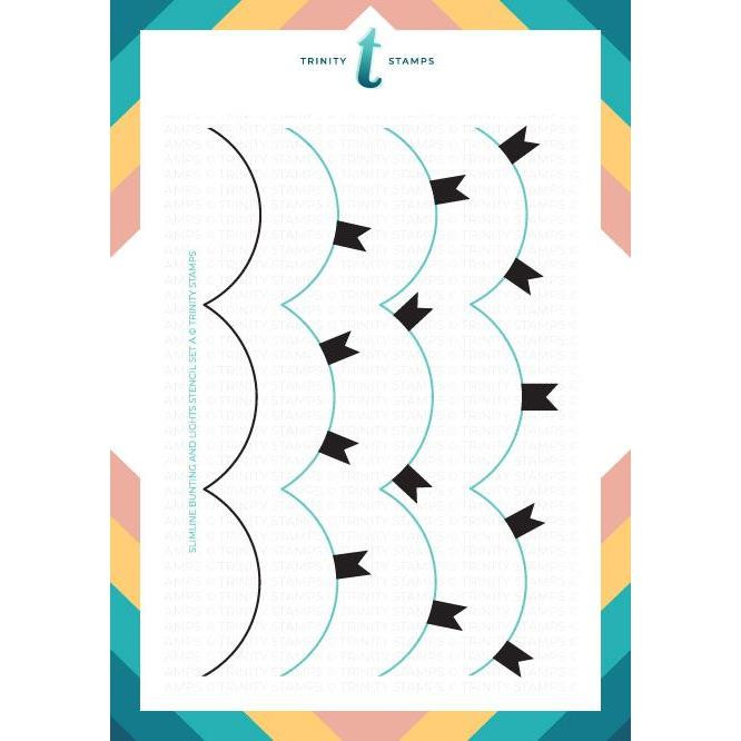 Slimline Bunting and Lights, Trinity Stamps Stencils -