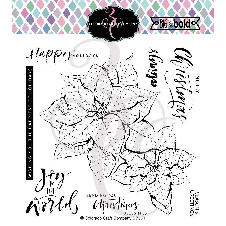 Poinsettia Blessings, Colorado Craft Company Clear Stamps -