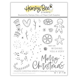 Country Christmas Wreath, Honey Bee Clear Stamps - 652827599672