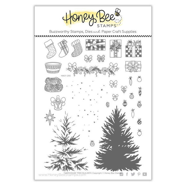 Farmhouse Tree Builder, Honey Bee Clear Stamps - 652827599665