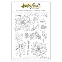 Pretty Poinsettias, Honey Bee Clear Stamps - 652827599689