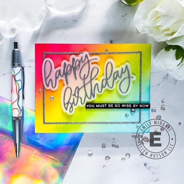 Big Scripty Happy Birthday by Julie Ebersole, Essentials by Ellen Designer Dies -