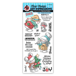 Chubby Snowmen, Art Impressions Clear Stamps -